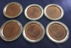6 silver coasters for glasses with wooden interior, ca 1970