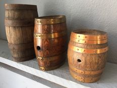 Three oak French wine kegs, 1970s, France,