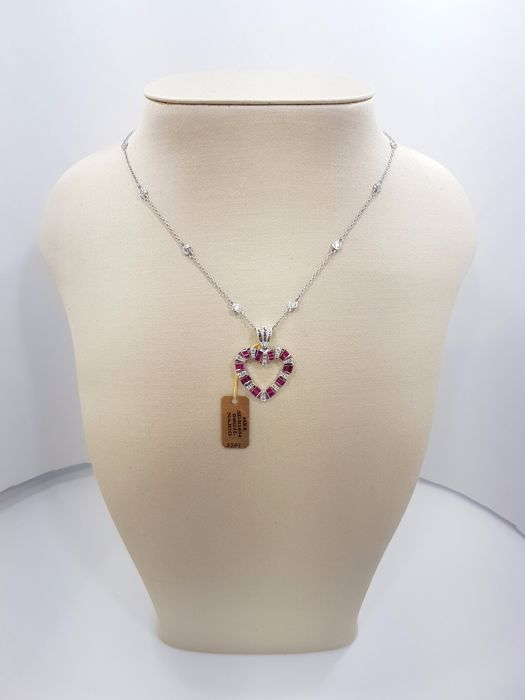 14ct White Gold Heart with Diamonds & Rubies Pendant