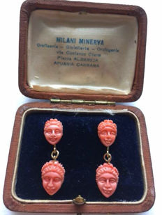 14 kt gold dangle earrings with salmon-coloured coral.