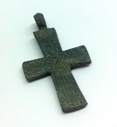 Medieval bronze cruciform (double cross) pendant with pseudo depiction of Christ - 40 x 23 mm