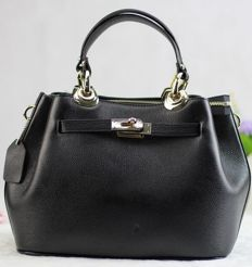 Black leather designer bag