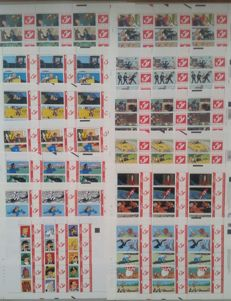 Belgium - 13 different full sheets of Duo stamps, all with ´TINTIN´ pattern, with various printing data