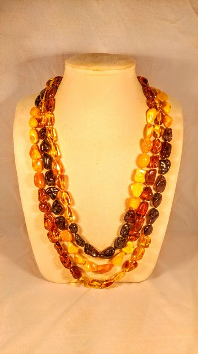 2 meter Extra long 100% Genuine vintage Baltic Amber necklace, 117 grams