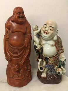 2 Standing Happy Buddha. Porcelain and Wood - China - second half 20th century