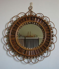 Vintage round bamboo mirror from the 1960s Italy