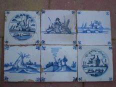 6 Antique tiles with landscapes with special scenes.