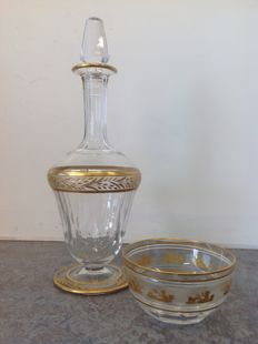 Val Saint Lambert - classic designed crystal decanter and dish with gold decoration, Belgium, First half 20th century
