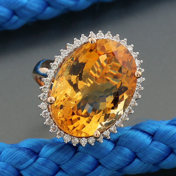 Citrine brilliant ring of 16.67 ct in total, 750 red gold - ring size: 55.5 – *no reserve!*