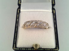 Old yellow gold cocktail ring with diamond.  0.71 ct in total.