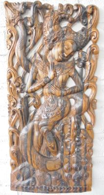 3D, hardwood, hand-carved wall panel depicting the goddess Dewi Ratih – Bali – Indonesia – around 1970