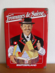 enamelled advertising sign - fromages de Suisse - 1980s
