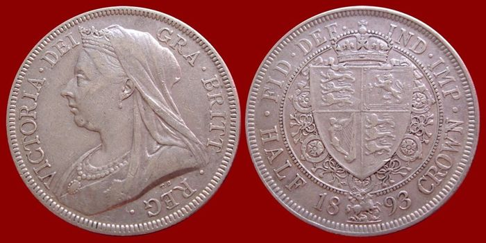 U.K - Half crown - Queen Victoria - 1893 - silver