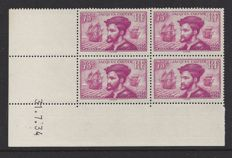 France 1934 – 75 c. Jacques Cartier – Yvert 296 in block of 4 with Coin date
