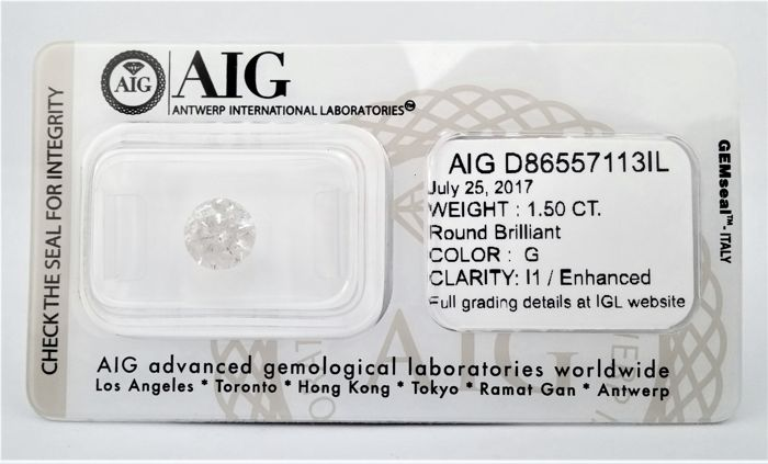 Round Brilliant Cut  - 1.50 carat - G color - I1 clarity- Sealed With AIG - 3 x EX - None