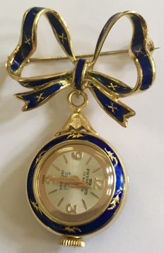 18k yellow gold bow brooch with watch with enamel (one year warranty on movement)