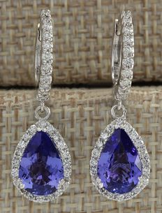 3.97 Carat Natural Tanzanite and Diamond Earrings In 14K Solid White Gold *** FREE SHIPPING *** NO RESERVE ***