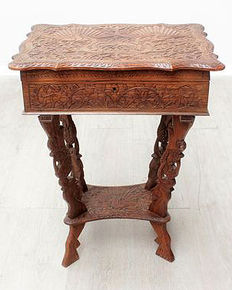 Sewing table with with lots of carving