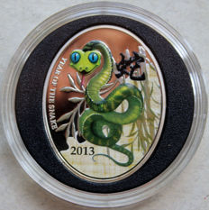 Niue Island - Dollar 2013 'Year of the Snake' colored silber