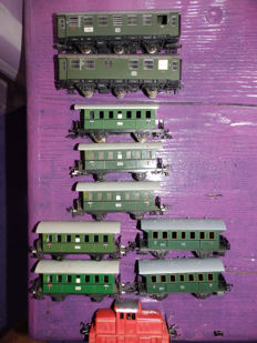 Fleischmann H0 - 1306 - Dieselloc + passenger car set from the DB consisting of 9 passenger cars