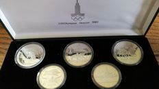Russia (USSR) – 5 & 10 Roubles 1978 'XXII Olympiad Moscow 1980' (5 coin set) – Silver