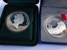 World – Lot of 2 coins 10 Francs and 5 Dollars – 1996/2000 – Australia and France – silver.