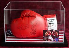"""Iron"" Mike Tyson AND Evander ""The Real Deal"" Holyfield autographed boxing glove in a display case + COA PSA"