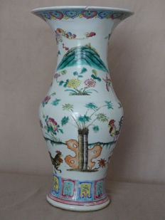 Large famille rose procelain vase 38 cm - China - Late 19th Century