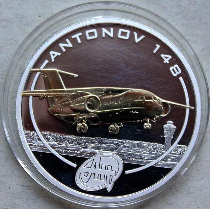 Cook Islands – 1 Dollar 2008 'Antonov 148' with gold applique - 1 oz silver