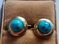Golden earrings with turquoise around 1950