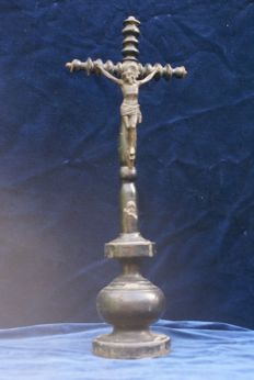 Very old standing crucifix , made from wood with a pewter Corpus Christi , from belgium , first half 19th century , Ca . 1850