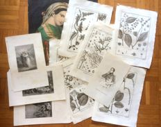 Approximately 120 prints by various artists (XVIII - XIX century) of various subjects: Landscapes, flowers, portraits, maps, religious subjects, various scenes
