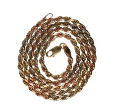 14 kt - tri-colour yellow/white/rose gold cord necklace - length: 50 cm