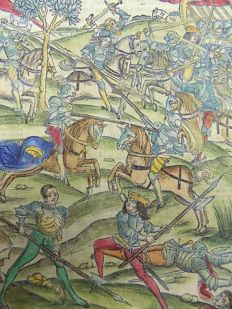 Grüninger Master - Illustrated post-incunabula leaf - The Joust, Battle Scene Virgil's Aeneid, hand colored - 1529