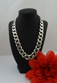 Silver 925k curb link necklace - 50.5 cm