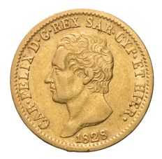Kingdom of Sardinia – Carlo Felice 20 Lire 1828 Turin – Gold
