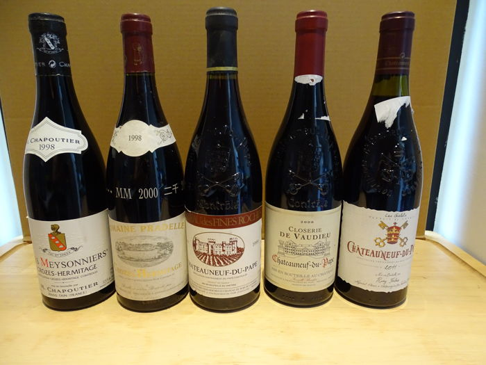 Mixed lot of Crozes-Hermitage & Châteauneuf-du-Pape - 5 bottles