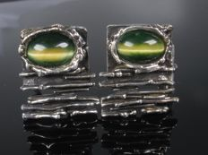 Silver cufflinks with agate from the 1960s