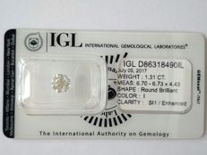 1.31 Carat Round Brilliant Cut - I Colour - SI1 Clarity - IGL Certified - Sealed