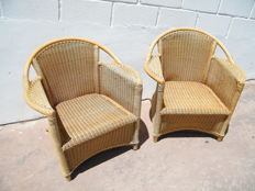 Pair of armchairs made of bamboo and wicker