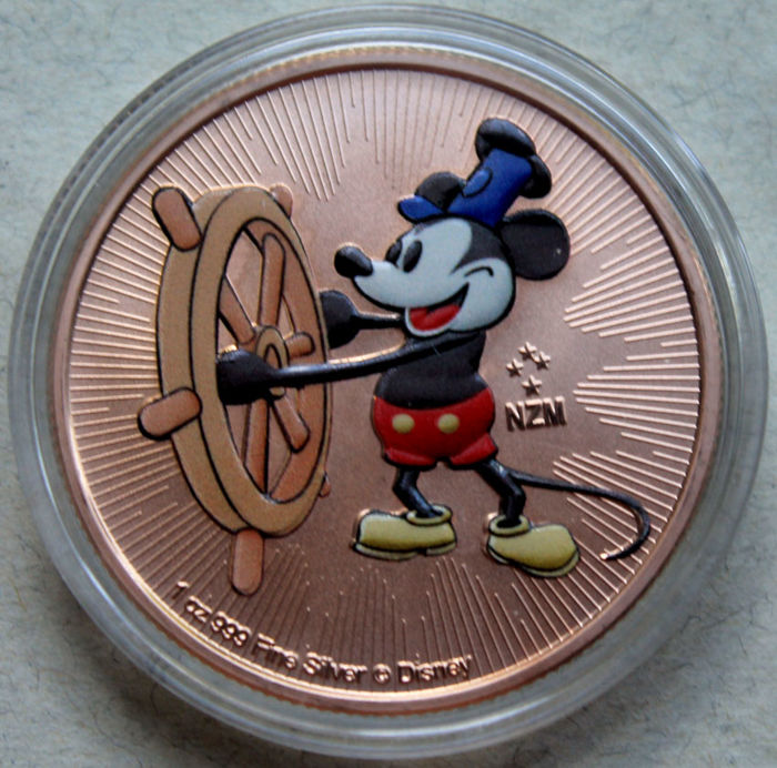 Niue 2 Dollars 2017 Mickey Mouse Steamboat Willie Rose Gold
