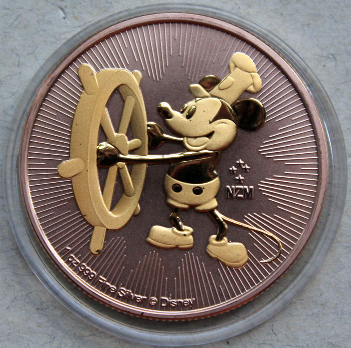 Niue - 2 Dollar 2017 'Mickey Maus - Steamboat Willie' rose gold gilded - 1 Oz - Silver