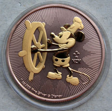 Niue -- 2 dollars 2017 'Mickey Mouse / Steamboat Willie' rose gold/gilded -- 1 oz silver