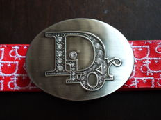 Christian Dior - Large buckle belt - Red leather - 1990's