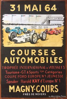 Courses automobiles Magny-Cours - French original poster - 1964