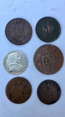 Papal State – Lot of 6 coins 1832-1868
