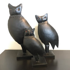 Set of 3 hand forged metal African field owls