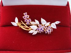 18K Gold plated flower brooch with genuine Amethyst and Quartz, pristine, vintage 1950's, Canada, No Reserve