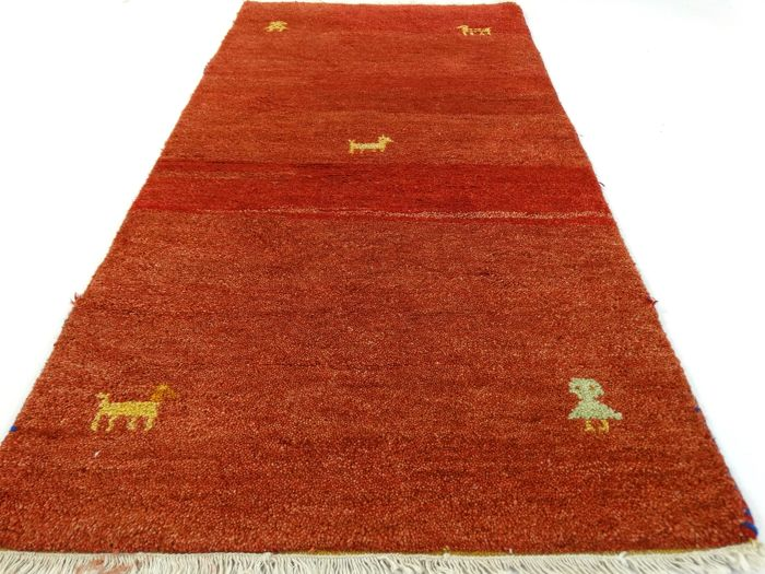 "Gabbeh – 140 x 72 cm – ""Persian carpet in brick – In beautiful top condition – With certificate"