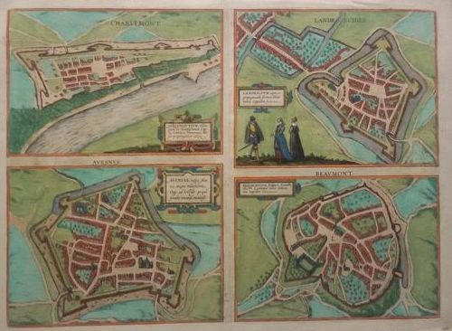 France; Braun & Hogenberg - Avesnes, Beaumont, Givet-Charlemont and Landrecies - 1581